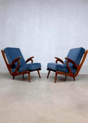 vintage design dutch armchairs lounge fauteuils blue velvet