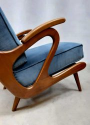 midcentury design blue armchairs lounge fauteuils