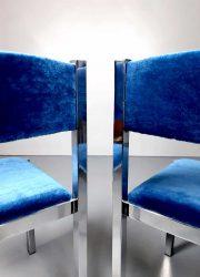 vintage blue velvet Italian eetkamerstoelen chrome Cidue dinner chairs