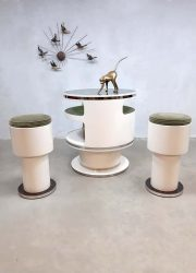 Space age vintage design cocktail bar & krukken stools Nebu, Joe Colombo style
