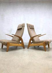 Vintage design 'Rock 'n Rest' lounge chair recliner lounge fauteuil Gimson & Slater rocking chair schommelstoel