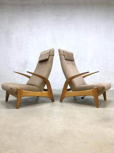 Vintage design 'Rock 'n Rest' lounge chair recliner lounge fauteuil Gimson & Slater rocking chair schommelstoel