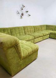Vintage modular velvet sofa seating element bank 'lime green'