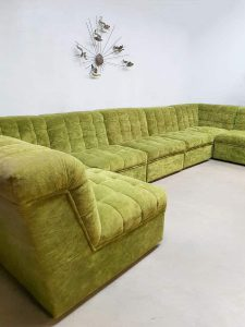 Vintage modular velvet sofa seating element bank 'lime green'
