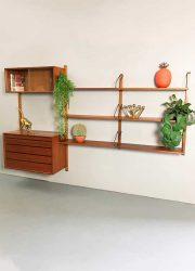 wall unit wandsysteem teak hout jaren 50 60 fifties sixties design Cadovius cabinet