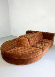 Vintage modular velvet sofa seating element bank 'chocolate brown' XXL