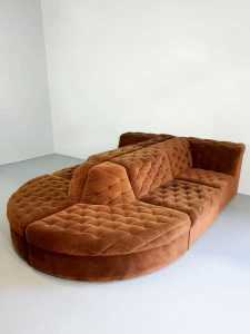 Vintage modular velvet sofa seating element bank 'chocolate brown' XXL