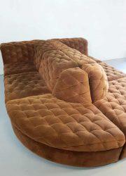 vintage design sofa modular XXL elementen bank chocolate brown velvet