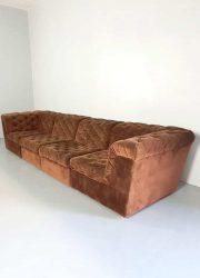 vintage sofa modular seating group bank bruin