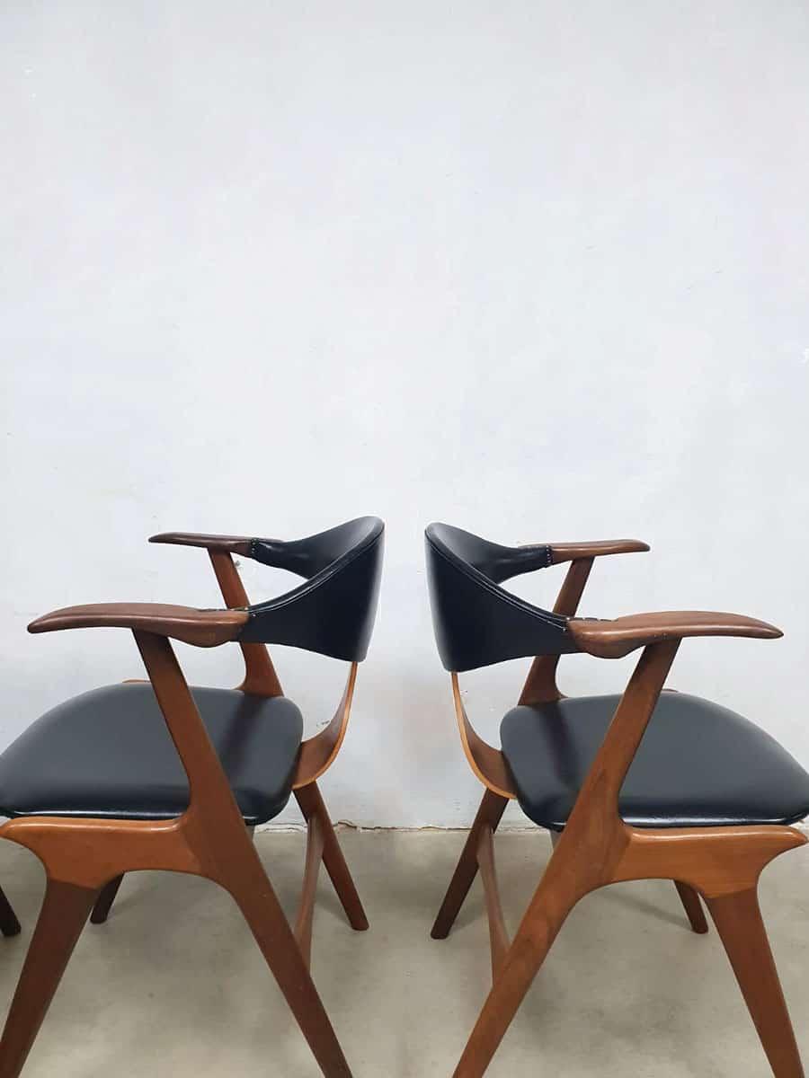 midcentury Dutch dining chairs cowhorn koehoornstoelen AWA Louis van Teeffelen