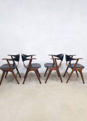 vintage Dutch design eetkamerstoelen cowhorn chairs