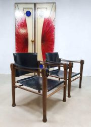vintage design safari chairs stoelen 1960 sixties leather