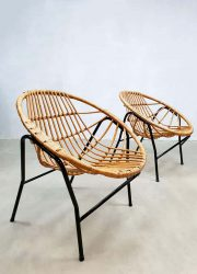 midcentury rattan chairs Rohe Noordwolde Dutch design stoelen