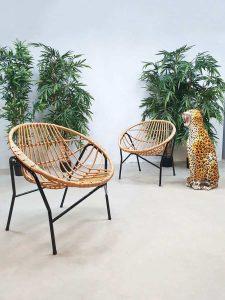 Vintage Dutch design rattan chairs rotan stoelen TRIO Rohe Noordwolde