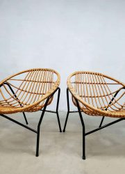 vintage Dutch design rotan set stoelen Rohe Noordwolde rotan stoelen