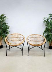 midcentury Dutch design rattan chairs rotan stoelen Rohe Noordwolde TRIO