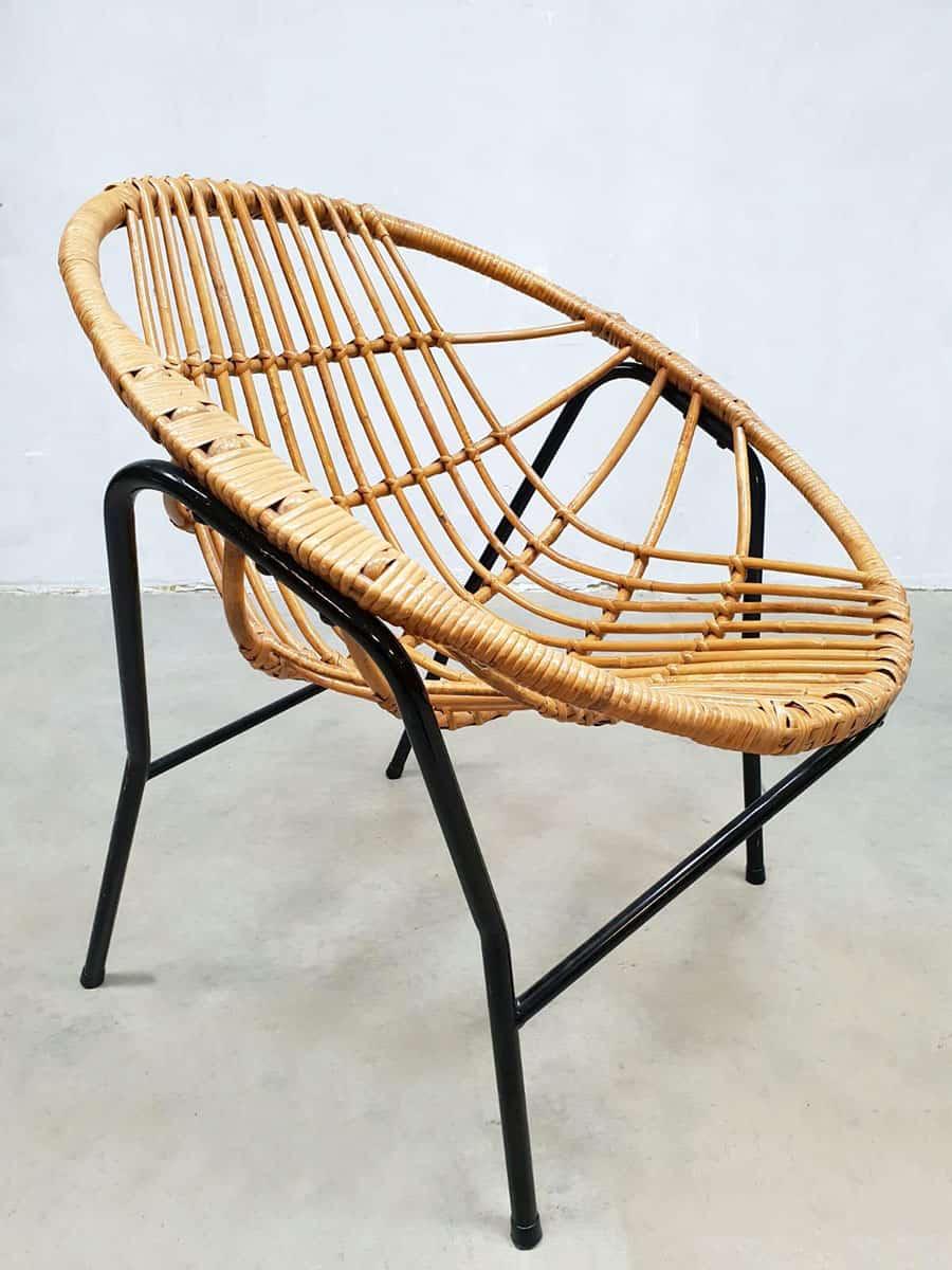 vintage nederlands design rotan stoel rattan chair Rohe Noordwolde