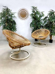 Vintage rattan swivel chair rotan fauteuil Abraham and Dirk Jan Rol