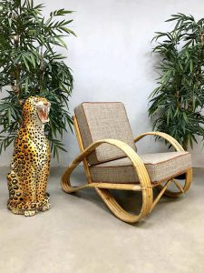 Vintage design rattan armchair lounge fauteuil rotan stoel Paul Frankl style