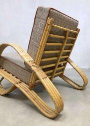 vintage design lounge stoel bamboe rotan Paul Frankl stijl armchair