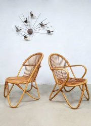 midcentury rattan lounge set arm chair rotan bamboo living