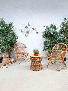 Vintage Dutch design rattan lounge set rotan stoelen Rohe Noordwolde