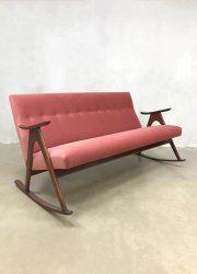 vintage Danish design rocking sofa Scandinavian pink velvet schommelbank