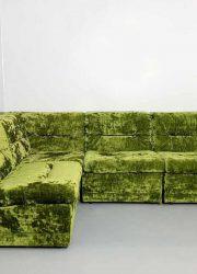 Green velvet modular sofa seating group bank groen modulair elementen