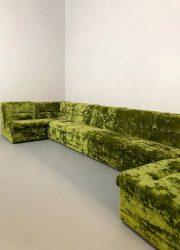 Modulaire groene elementen bank velvet green design vintage modular elements seating