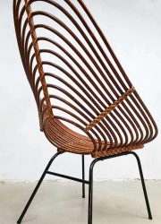 vintage Dutch design chair rotan lounge stoel Rohe