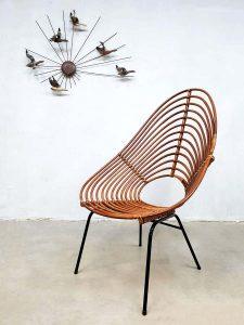 Vintage dutch design bamboo lounge chair bamboe stoel Rohe Noordwolde