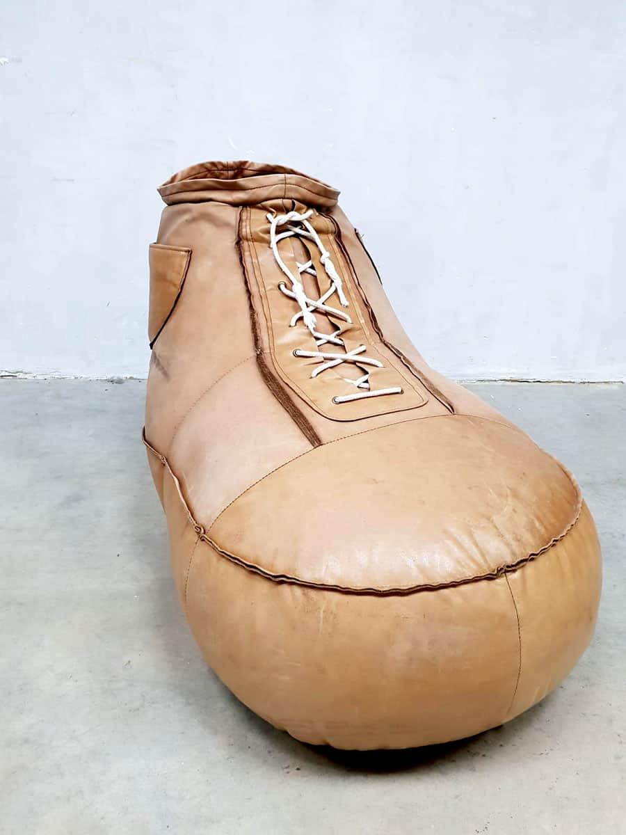 Vintage De Sede Leather Sneaker Shoe Bean Bag Ottoman