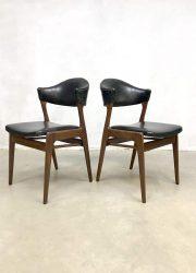 vintage Deense eetkamerstoelen danish design teak wood chairs