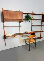vintage wandkast modulair Poul Cadovius stijl modular wall unit