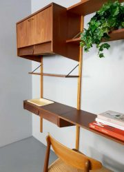 vintage bureau desk modular wall unit cabinet teak wood