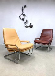 Vintage Dutch tube armchairs lounge fauteuils Jan de Bouvrie Gelderland