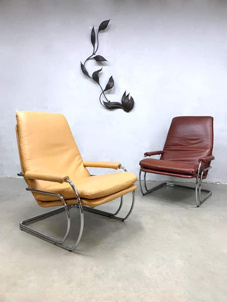 Jan De Bouvrie Stoelen Gelderland.Vintage Dutch Tube Armchairs Lounge Fauteuils Jan De Bouvrie
