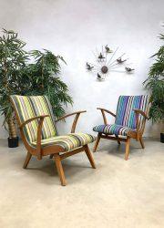 Vintage Dutch design armchairs Bicolor lounge fauteuils