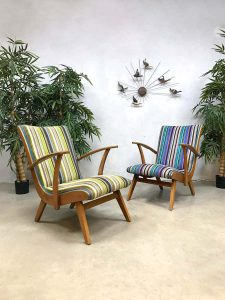 Vintage Dutch design armchairs Bicolor lounge fauteuils
