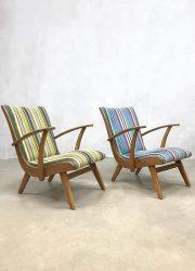 vintage Dutch design arm chairs lounge fauteuils