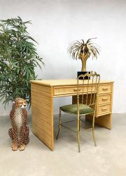 Vintage bamboo rattan desk hollywood regency riet rotan bamboe bureau