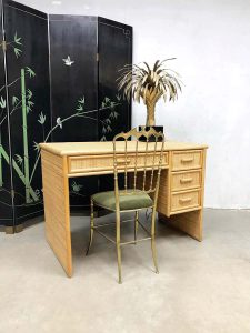 Bureau desk bamboo bamboe rattan rotan vintage design