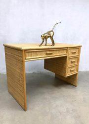 Vintage design Hollywood rattan regency bamboo desk bureau