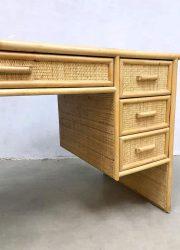 Hollywood regency vintage design rotan bamboe bureau desk rattan