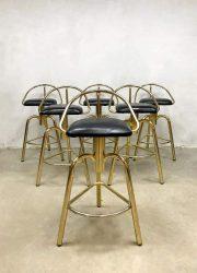 vintage industrial barstools barkrukken hollywood regency messing brass