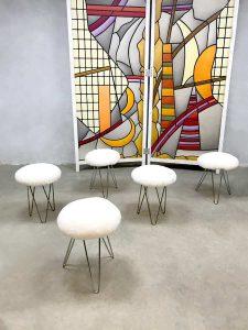 Vintage sheepskin stool/ottoman/pouf schapenvacht kruk/poef