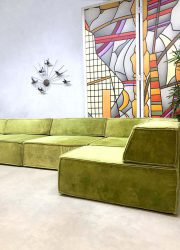 vintage German design sofa lime green velvet modular sofa bank