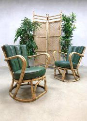 Vintage rattan bamboo arm chairs rotan bamboe fauteuils