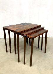 vintage deense bijzettafeltje palisander design Danish nesting tables