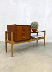 Vintage Danish design teak sidetable cabinet drawers ladekast bijzettafel